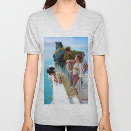 Lawrence Alma-Tadema - A Coign Of Vantage - Digital Remastered Edition Unisex V-Neck