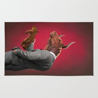 bull Area & Throw Rugs featuring Bull by rob art | illustration
