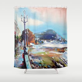 Quay after the storm Shower Curtain