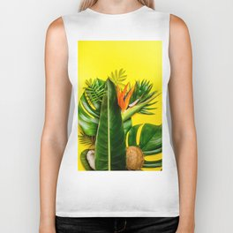 Tropical leaves and flowers on yellow background Biker Tank