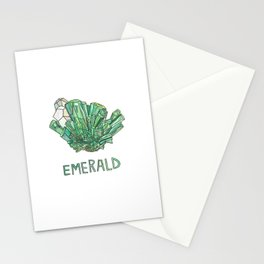 Emerald Gemstone / May Birthstone Watercolor Painting / Illustration Stationery Cards