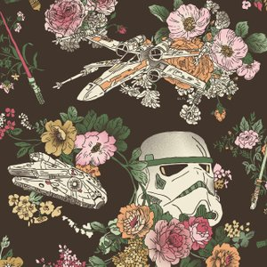 repeating pattern with Storm Trooper helmets, light sabers, flowers and more