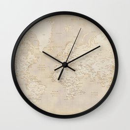 Vintage world map in sepia and gold, Kellen Wall Clock