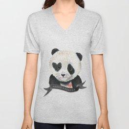 Panda Bear · Heart Breaker · Baby Animal · Nursery Art · Kids Room Unisex V-Neck
