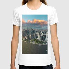 Aerial view of lower Manhattan, New York City T-shirt