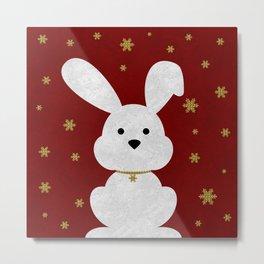 Christmas Bunny Red Marble Metal Print