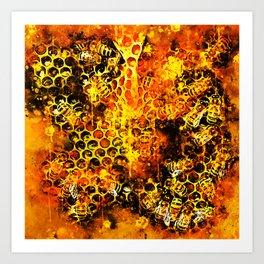 bees fill honeycombs in hive splatter watercolor Art Print