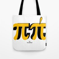 pi Tote Bags featuring PI by bisualhart