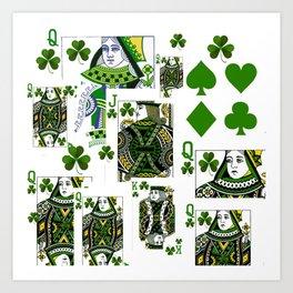 GREEN IRISH LUCKY CLOVER CASINO CARDS Art Print