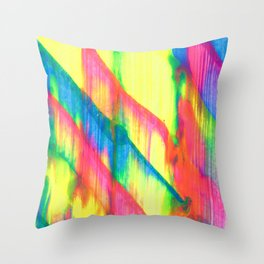 Glowing Neon Abstract Painting V2 Throw Pillow