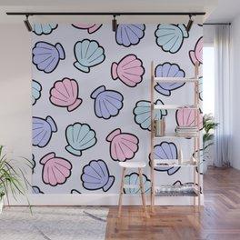Mermaid Shells Pastel Pattern Wall Mural