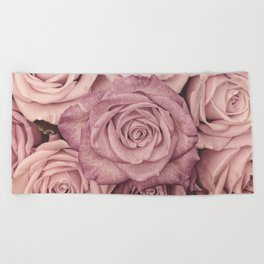 Some People Grumble - Pink Rose Pattern - Roses Beach Towel