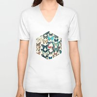 wings V-neck T-shirts featuring Wings by Cassia Beck