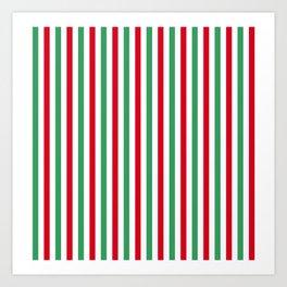 Christmas Small Even Stripes Art Print
