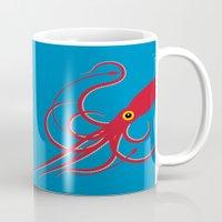 squid Mugs featuring Squid by Mark Walker