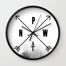PNW Pacific Northwest Compass - Black and White Forest Wall Clock