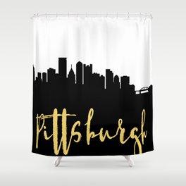 PITTSBURGH PENNSYLVANIA DESIGNER SILHOUETTE SKYLINE ART Shower Curtain