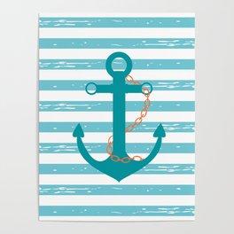 AFE Nautical Teal Ship Anchor Poster