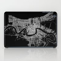 new orleans iPad Cases featuring New Orleans map by Line Line Lines