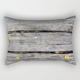 Grey boards with scattered fall leaves Rectangular Pillow