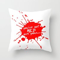 shaun of the dead Throw Pillows featuring Shaun oF The Dead  |  You've Got Red On You... by Silvio Ledbetter