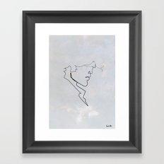 One line Blueberry Framed Art Print
