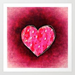 Cute Hand Drawn Pink Heart on a Grunge Texture Art Print