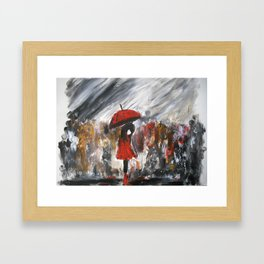 Girl In Red Raincoat Umbrella Rainy Day Fine Art Print Of Acrylic Painting Framed Art Print