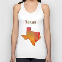 texas Tank Tops featuring Texas Map by Roger Wedegis