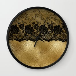 Black luxury lace on gold glitter effect metal- Elegant design on #Society6 Wall Clock