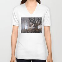 forrest V-neck T-shirts featuring Dark Forrest by Annette Jimerson