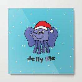 Jelly Elephant Santa Metal Print