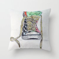 sneaker Throw Pillows featuring Sneaker by H & J