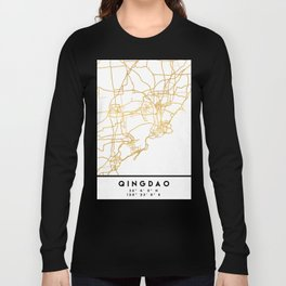 QINGDAO CHINA CITY STREET MAP ART Long Sleeve T-shirt