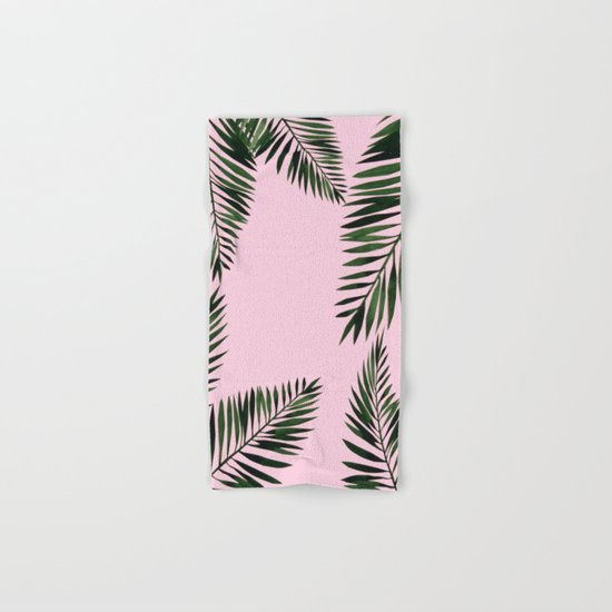 Watercolor tropical palm leaves pink Hand & Bath Towel