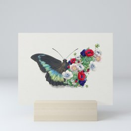 Flowers and butterfly  Mini Art Print
