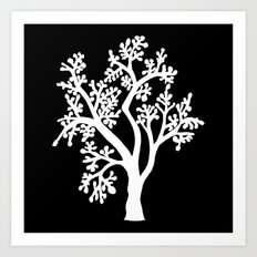 Solo Tree White on Black Art Print