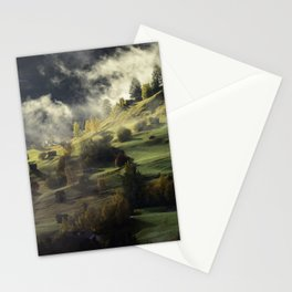 Mountain Village Swept in Fog Stationery Cards