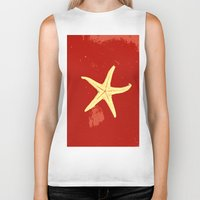 seashell Biker Tanks featuring red seashell by gzm_guvenc