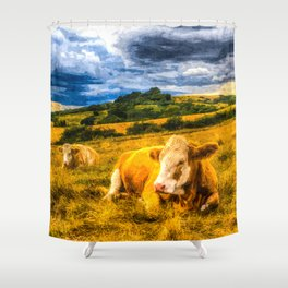 Resting Heifers Art Shower Curtain
