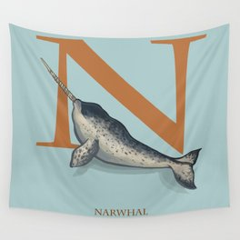 N is for Narwhal: Under Appreciated Animals™ ABC nursery decor sea life blue unusual animals Wall Tapestry
