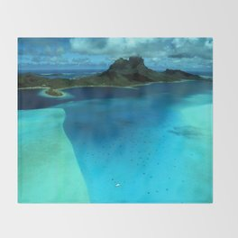 Bora Bora Lagoon Aerial Throw Blanket
