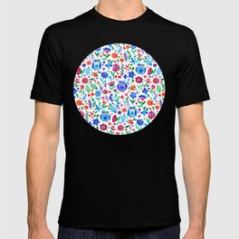 Little Owls and Flowers on White T-shirt