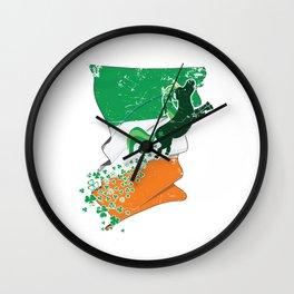 Unicorn Distressed Irish Flag St Patricks Wall Clock