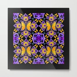 BLACK-GOLD-PURPLE BUTTERFLIES PANSY KALEIDOSCOPE Metal Print