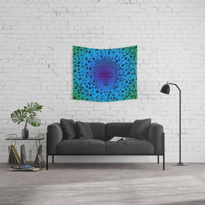 Buddha Head Blues Purples Greens Wall Tapestry