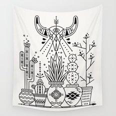 Santa Fe Garden – Black Ink Wall Tapestry