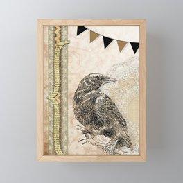 Crow, Brown Banner, Doily, Digital Design Framed Mini Art Print