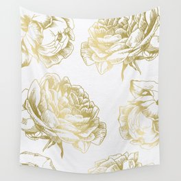 Gold Roses Wall Tapestry