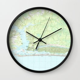 Oak Island North Carolina Map (1990) Wall Clock